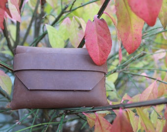 Handmade small leather wallet (angled edges)