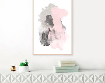 Pink And Grey Abstract Art Large Painting Living Room Print