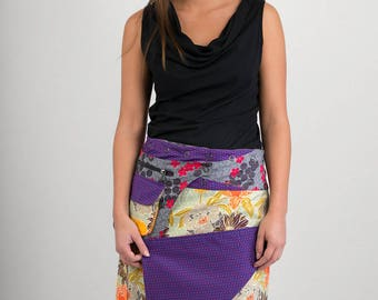 Reversible Cotton Skirt Orange Yellow Floral Purple Birds Print Grey Floral Detachable Pocket Long Length