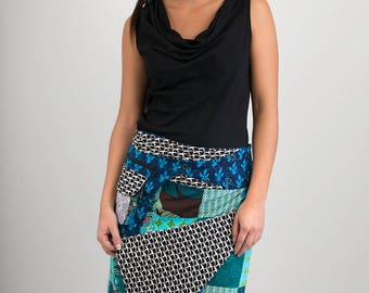 Reversible Cotton Skirt Blue Patch Black White Print Blue Print Detachable Pocket Long Length