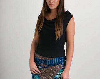 Reversible Cotton Skirt Blue Patch Grey Flowers Print Detachable Pocket Mini Length