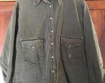 AG Adriano Goldschmied Event Military Green Surplus Jacket Shirt Heavy Snap Shirt Military Style Designer Denim Shirt Size Medium