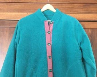 Women's Fleece Suede Pullover Jacket Button Up Fleece Jacket Vintage Navajo Button Silver Button Handmade Fleece