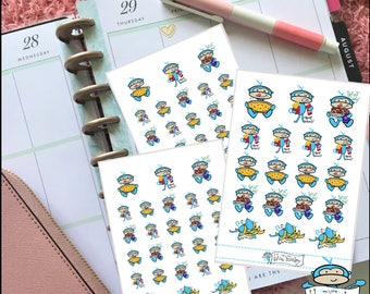 Blue Monkey Cheat Day Planner Stickers - Pizza Night Sticker, Fast Food, Sweets Overload, Binge Eating, Ate Too Much, Food Stickers (MM033)