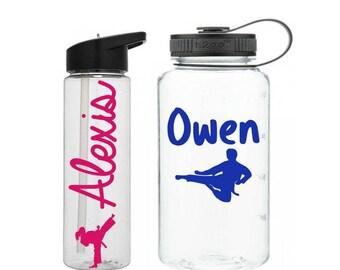 Karate Water Bottle, Martial Arts Water Bottle, Kids Sports Bottle, Karate Gifts, Karate Instructor Gift, Belt Testing Gift, Karate Favors