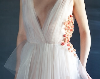 Non Traditional Wedding Dress Peach Bridal Gown With Flowers