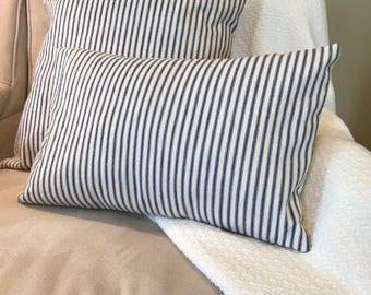 lumbar pillow cover, ticking stripe pillow cover, envelope pillow cover, home decor pillow, 12 x 16, farmhouse decor, blue pillow cover