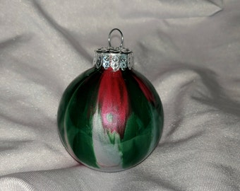 Hand painted small glass ornament