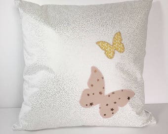 Square cushion removable white silver with pink powder and mustard Yellow Butterfly