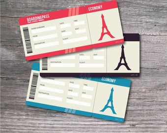 Printable Set of PDF Surprise Ticket for a Paris / France Vacation