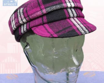 Fisherman cap newsboy cap pink black wool peaked cap tartan plaid cap Small