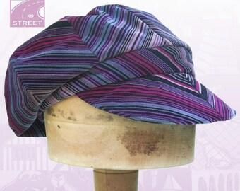 Chevron striped newsboy cap velveteen cotton velvet slouchy boho cap