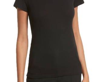 NWT85 THEORY Women's Rodiona 2C Forli Rib Knit Tee T Shirt Top, Black, XS - P