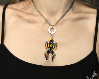 Miyuki tribal inspiration tribal beads pendant - Boho jewelry - Bird Toucan multicolored warrior - original creation