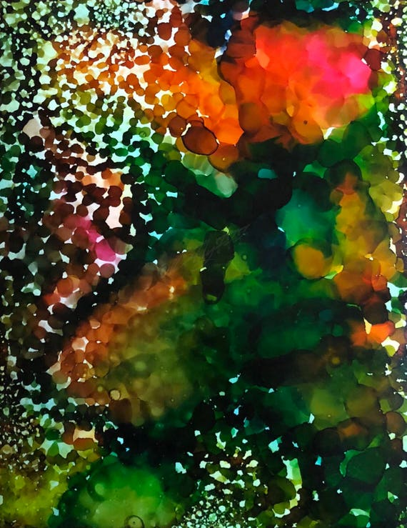 """Original Alcohol Ink Abstract """"Prosecco In The Garden"""" (11"""" X 14"""")"""