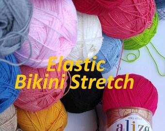 Alize yarn, Diva stretch, Kniting yarn, crochet yarn, Summer Yarn, stretch yarn, bikini yarn, elastic yarn, bikini pattern, swimsuit yarn