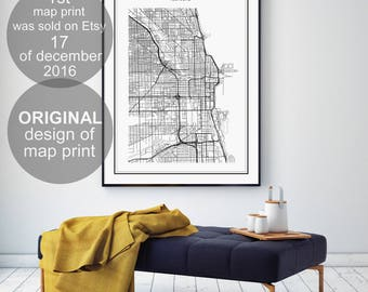 Chicago Map Print Chicago Illinois Map Us City Map Print Us Map