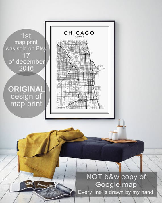Chicago Map Print Chicago Illinois Map US City Map Print US - Us map chicago illinois