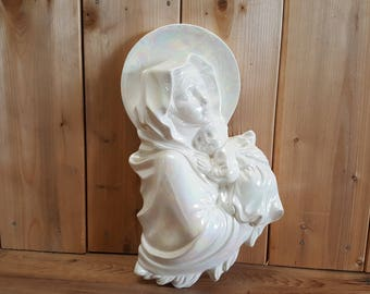 Vintage Virgin Mary Mother and Baby Jesus Wall Hanging White Iridescent Porcelain Handmade Signed Religious Gift Catholi Christian Baptism