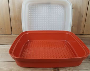 Vintage Tupperware Large Rectangular orange Plastic Keeper Container with Clear Lid Food Storage Made in Canada Mod Retro Potluck Picnic