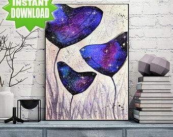 Original Watercolor painting Art prints Cosmic Flowers print Watercolor flowers Blue flowers Galaxy flowers Space print Flowers poster