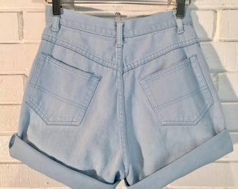 Vintage Very High Waisted Baby Blue 24 Inch Waist Jean Shorts