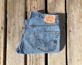 """Levi's 505 33"""" Medium Wash High Waist Boyfriend Style Vintage Jeans"""