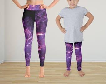 Mommy Daughter Galaxy Leggings,Mom Daughter Tights,Patterned Leggings, Space Leggings Set, Yoga Leggings,Yoga Pants,Mother daughter matching