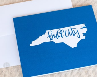 Blue Bull City Folded Cards and Envelopes - NC Stationery -  Durham, NC Note Cards - Bull City Stationery - Hostess Gift - State Stationery