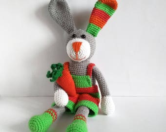 Easter gift for boy etsy crochet easter bunny rabbit toy happy easter decoration stuffed rainbow bunny easter gift for boy gift negle Images