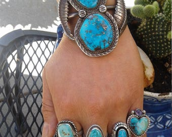 Large Vintage Native American Navajo Sterling Silver and Morenci Turquoise Cuff Bracelet