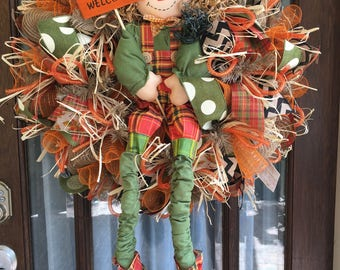 Scarecrow  Welcome Deco Mesh Wreath
