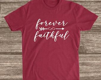 Forever Faithful Cardinal Red Unisex T-shirt - Faith Shirts - Sunday Shirts - Church Shirt - Women's Shirts with Sayings