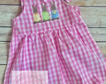 Custom pink gingham dress, bunny appliqué