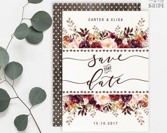 Rustic Floral Save the Date Wedding Invitation. Burgundy and Blush Flower Save the Date Printable Invitation. Marsala Pink Wedding. FLO19