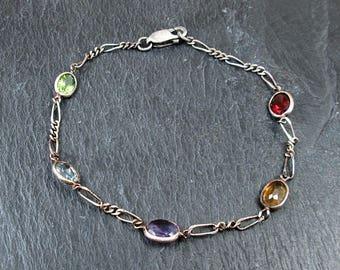 Sterling Silver Quartz Gemstone Bracelet - Vintage