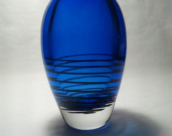 "Gorgeous Heavy Art Glass Vase in Cobalt Blue and Clear Glass (9"" x 5"") weighing 7 lbs."