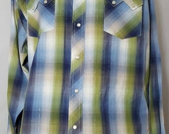 Men's Wrangler American Cowboys Long Sleeve Western Pearl Snap Shirt