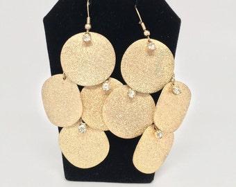Glittering Gold Disc Earrings