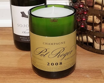 Pol Roger 2008 Blanc de Blancs Champagne - a Candle made from a Repurposed Wine Bottle