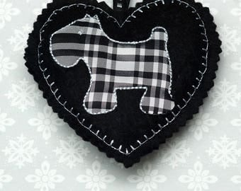 Embroidered heart, felt heart,  hanging heart, machine embroidered heart, scottie dog, dog