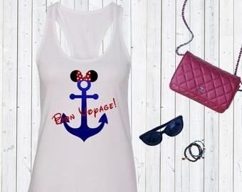 Bon Voyage Disney Cruise Tank Top. Disneyworld Tank. Family Disney Shirts.Cute Disney Tanks. Disney Cruise. [E0879]