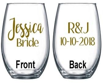 Personalized Wine Glass / Bachelorette Party / Bridal Party Wine Glasses / Wine Glass / Bridesmaid Gift / Wedding Wine Glasses