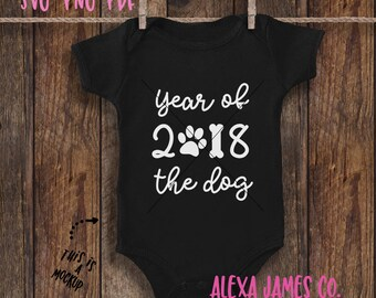 SVG Cutting File, Year of the Dog 2018, Happy New Year SVG, 2018 Baby SVG, New Year svg, Cricut, Silhouette, svg png pdf