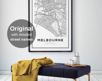 Melbourne Map Print, Melbourne City, Australia Print, Map Art, Melbourne Map Poster, Australia, Black and White Map, Australia Map Print