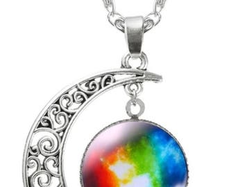 Moon & Galaxy Statement Necklace Silver chain Pendants Fashion Jewelry best friends gift