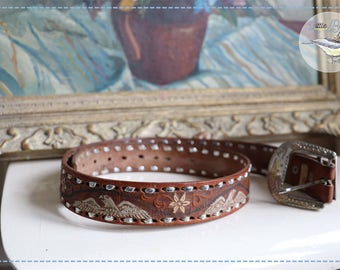 Mexican Eagle Belt, tan leather