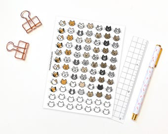 Cat planner stickers - 84 cat mood tracker stickers for planners and journals, mood tracker, habit tracker, mood stickers, cat stickers