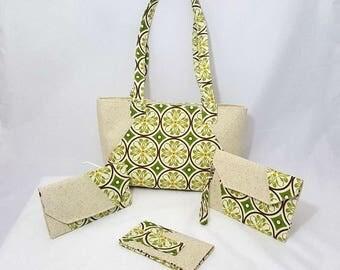 Green medallion purse set - Handmade purse set - Green bag - Yellow medallion print - Handmade - Fabric bag - Double strap - Yellow - Green