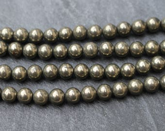 6mm Pyrite Beads, Fools Gold, Iron Pyrite, Brass Gold Color, Natural, Round, Gemstone, Metallic, 6 mm, Round Beads